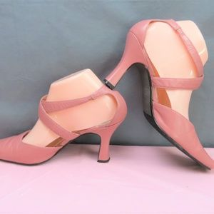 Bellini Pale Pink Leather Strappy Pumps